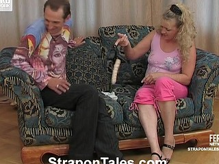 Crummy sweetheart stretching a guy