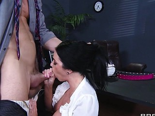 It's a recipe for disaster when Aryana Augustine gets put in charge of things during the time that the manager's away. All that slut wants to do is bang everyone in the office all day. That Babe calls her coworkers one at a time to her office for a fuck. Eventually, Johnny's had sufficiently, and goes to show that troublemaker, just 'coz that babe's got large meatballs and an attitude doesn't mean this babe's the boss.